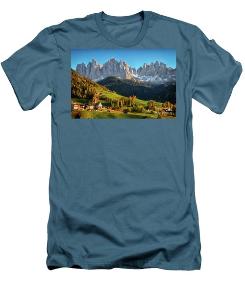 Dolomite Village In Autumn Men's T-Shirt (Slim Fit) by IPics Photography