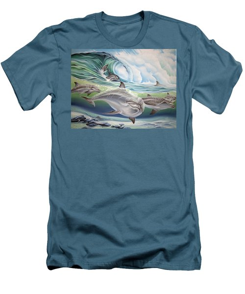 Dolphin 2 Men's T-Shirt (Slim Fit) by William Love