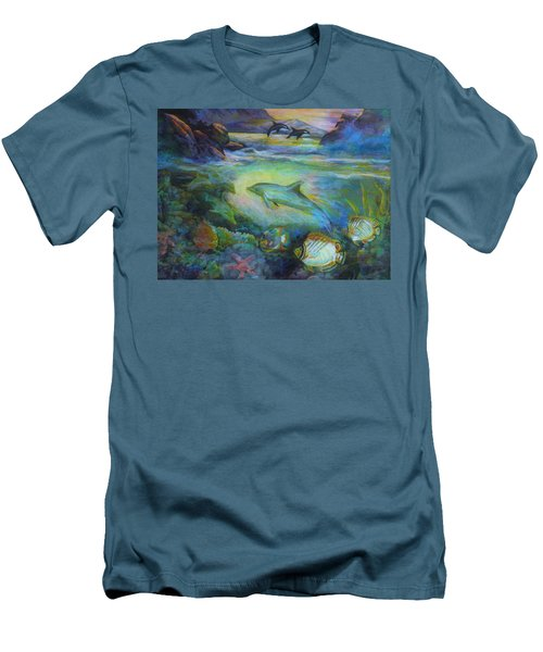 Men's T-Shirt (Athletic Fit) featuring the painting Dolphin Fantasy by Denise Fulmer