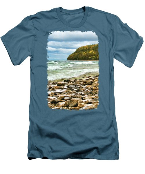 Door County Porcupine Bay Waves Men's T-Shirt (Slim Fit) by Christopher Arndt