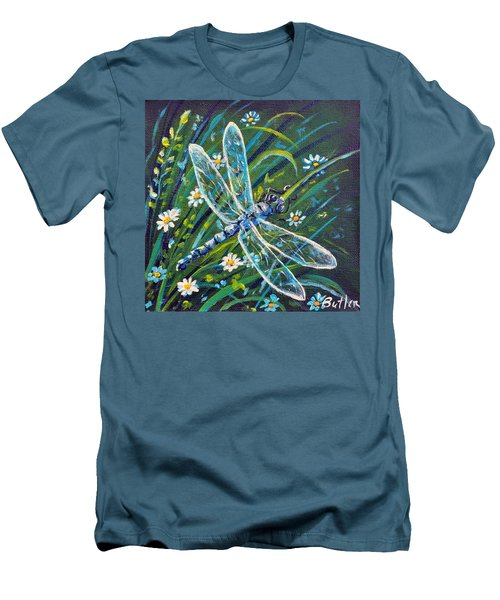 Dragonfly And Daisies Men's T-Shirt (Slim Fit) by Gail Butler