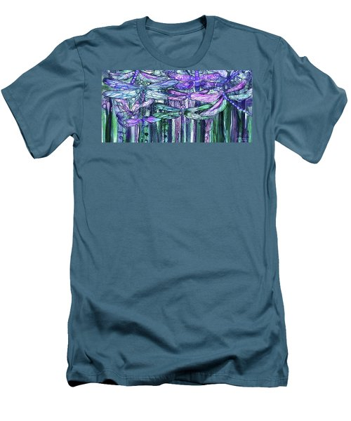 Men's T-Shirt (Athletic Fit) featuring the mixed media Dragonfly Bloomies 4 - Lavender Teal by Carol Cavalaris
