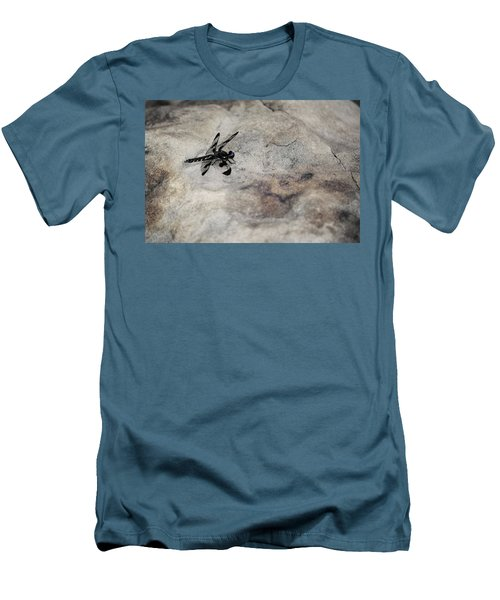 Dragonfly Landed On The Rock Men's T-Shirt (Athletic Fit)