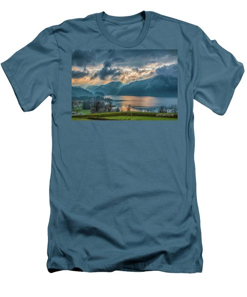 Dramatic Sunset Over Mondsee, Upper Austria Men's T-Shirt (Slim Fit) by Jivko Nakev