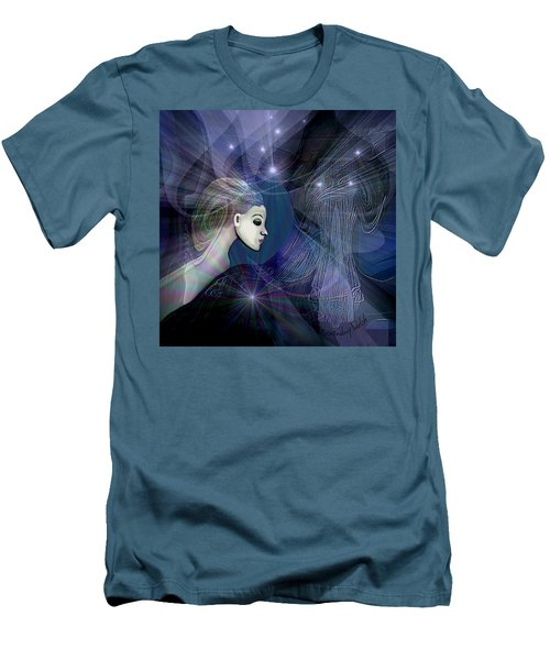 Men's T-Shirt (Slim Fit) featuring the digital art 1101 - Dream Voyage - 2017 by Irmgard Schoendorf Welch
