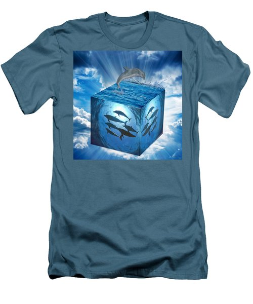 Men's T-Shirt (Athletic Fit) featuring the mixed media Dreaming Of Dolphins by Marvin Blaine