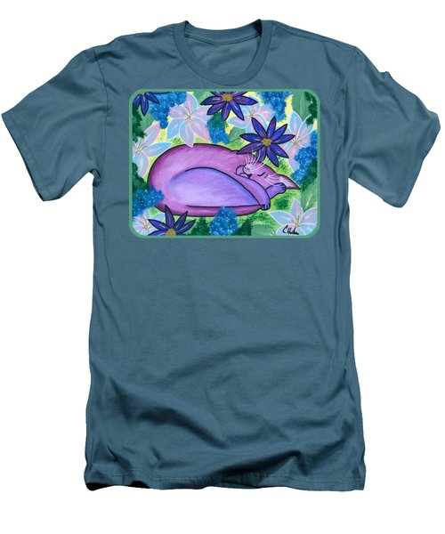 Dreaming Sleeping Purple Cat Men's T-Shirt (Athletic Fit)