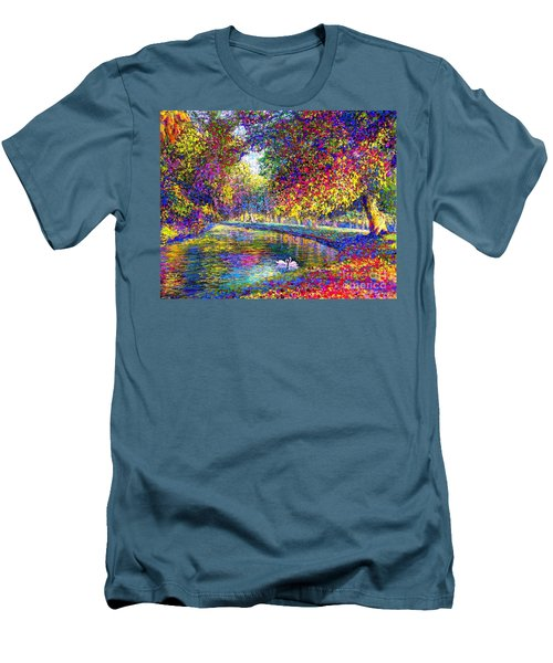 Men's T-Shirt (Slim Fit) featuring the painting Drifting Beauties, Swans, Colorful Modern Impressionism by Jane Small
