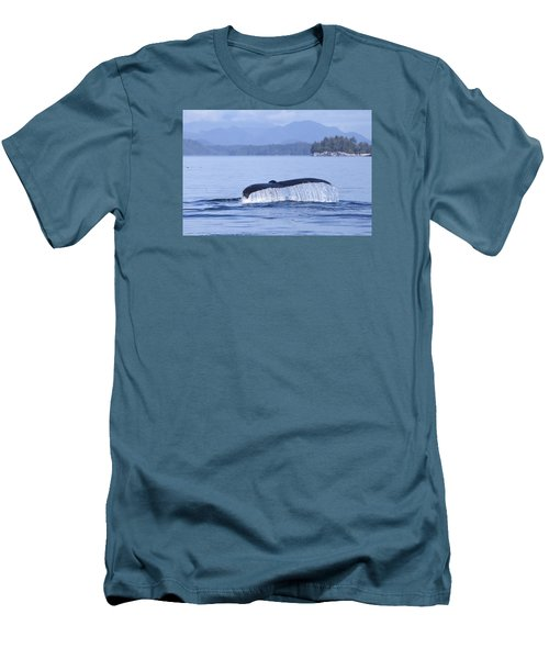 Men's T-Shirt (Slim Fit) featuring the photograph Dripping Whale Fluke by Michele Cornelius