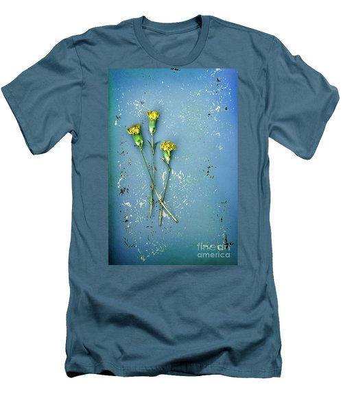 Men's T-Shirt (Slim Fit) featuring the photograph Dry Flowers On Blue by Jill Battaglia