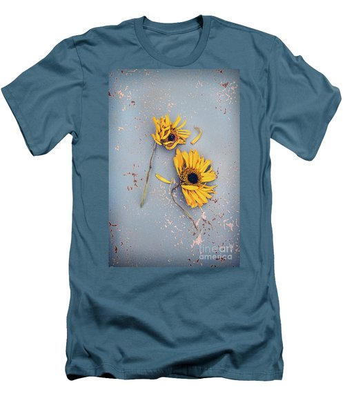 Men's T-Shirt (Slim Fit) featuring the photograph Dry Sunflowers On Blue by Jill Battaglia