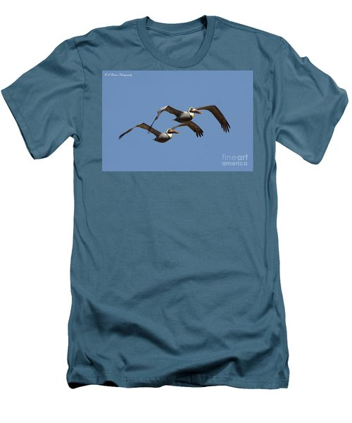 Duel Pelicans In Flight Men's T-Shirt (Athletic Fit)