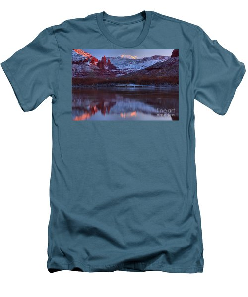 Men's T-Shirt (Slim Fit) featuring the photograph Dusk At Fisher Towers by Adam Jewell