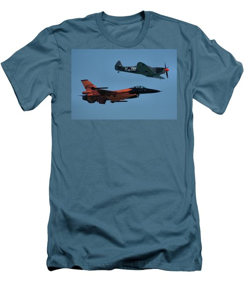 Dutch F-16 And Spitfire Men's T-Shirt (Slim Fit) by Tim Beach