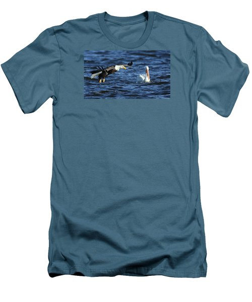 Men's T-Shirt (Slim Fit) featuring the photograph Eagle And Pelican by Coby Cooper
