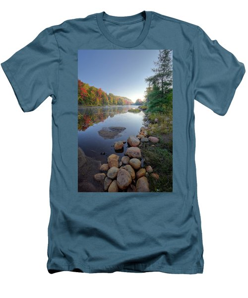 Men's T-Shirt (Athletic Fit) featuring the photograph Early Color On Bald Mountain Pond by David Patterson