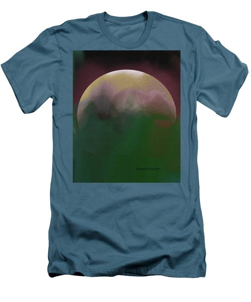Earth And Moon Men's T-Shirt (Slim Fit) by Lenore Senior