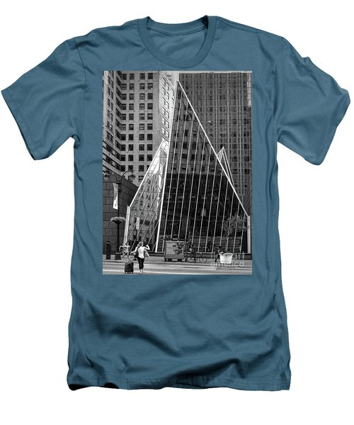 East 42nd Street, New York City  -17663-bw Men's T-Shirt (Slim Fit) by John Bald