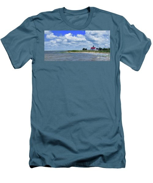 East Point Lighthouse At High Tide Men's T-Shirt (Slim Fit) by Nancy Patterson