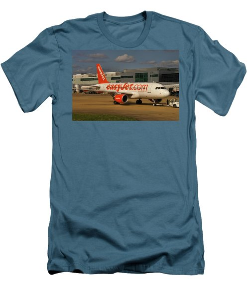 Men's T-Shirt (Slim Fit) featuring the photograph Easyjet Airbus A319-111  by Tim Beach