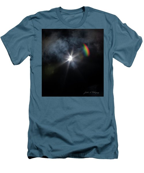 Solar Eclipse 2017 And Rainbow Men's T-Shirt (Athletic Fit)