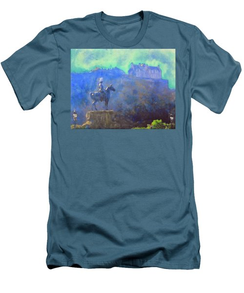 Edinburgh Castle Horse Statue Men's T-Shirt (Slim Fit) by Richard James Digance