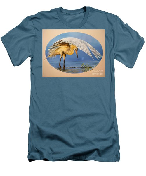 Men's T-Shirt (Slim Fit) featuring the painting Egret Fishing by Sigrid Tune