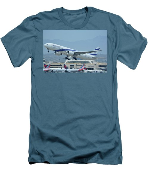 Men's T-Shirt (Slim Fit) featuring the photograph El Al Boeing 777-258er 4x-ece Los Angeles International Airport May 3 2016 by Brian Lockett