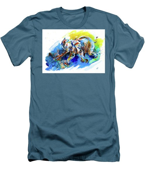 Men's T-Shirt (Slim Fit) featuring the painting Elephant Calf Playing With Butterfly by Zaira Dzhaubaeva