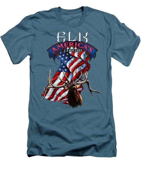 Elk America's Legend V2 Men's T-Shirt (Slim Fit) by Rob Corsetti