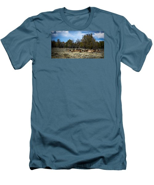 Men's T-Shirt (Slim Fit) featuring the photograph Elk Family by Sandy Molinaro