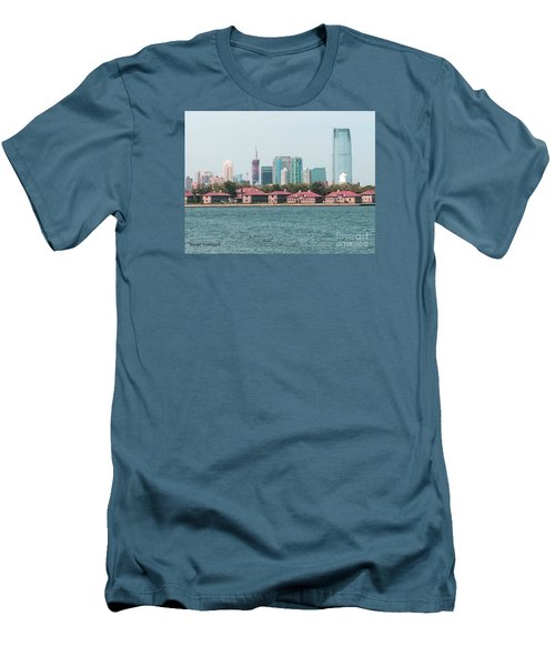 Men's T-Shirt (Slim Fit) featuring the painting Ellis Island And Nyc by Denise Tomasura