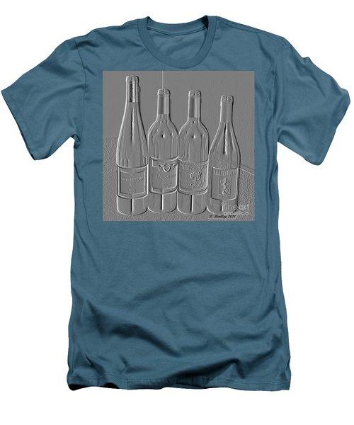 Embossed Wine Bottles Men's T-Shirt (Athletic Fit)