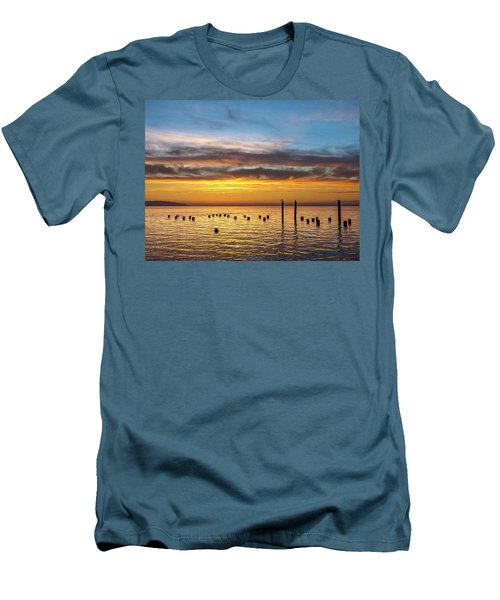 End Of The Day On Humboldt Bay Men's T-Shirt (Slim Fit) by Greg Nyquist