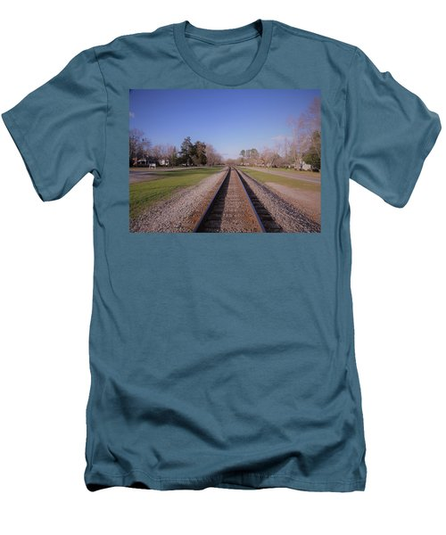 Men's T-Shirt (Athletic Fit) featuring the photograph Endless Railroad by Aaron Martens