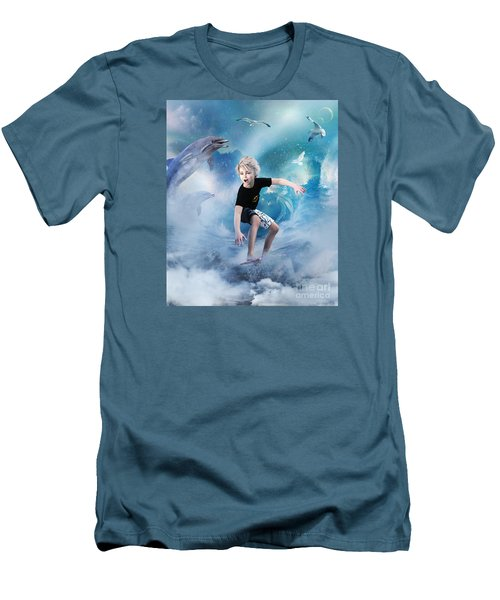 Men's T-Shirt (Slim Fit) featuring the digital art Endless Wave by Shanina Conway