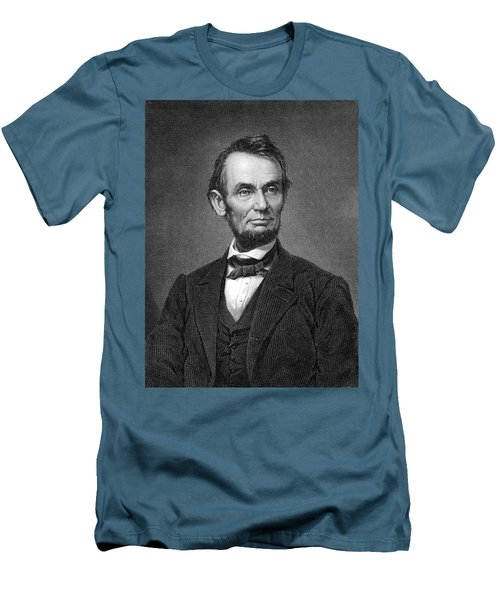 Engraving Of Portrait Of Abraham Lincoln From Brady Photograph Men's T-Shirt (Slim Fit) by Phil Cardamone