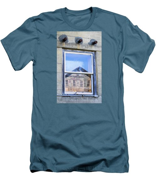 Men's T-Shirt (Slim Fit) featuring the photograph Estey Window Reflection by Tom Singleton