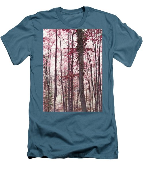 Ethereal Austrian Forest In Marsala Burgundy Wine Men's T-Shirt (Slim Fit) by Brooke T Ryan