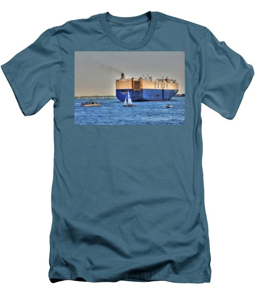 Men's T-Shirt (Athletic Fit) featuring the photograph Eukor Car Carrier Ship - Boston Harbor by Joann Vitali