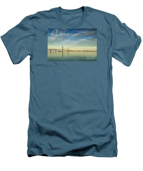 Evening Lights On The Bay Cadiz Spain Men's T-Shirt (Slim Fit) by Pablo Avanzini
