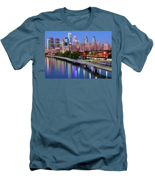 Men's T-Shirt (Slim Fit) featuring the photograph Evening Lights On The Delaware by Frozen in Time Fine Art Photography