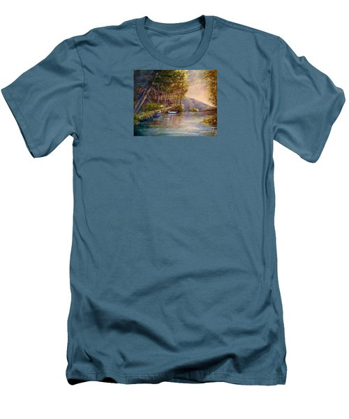 Men's T-Shirt (Slim Fit) featuring the painting Evening's Twilight by Patricia Schneider Mitchell