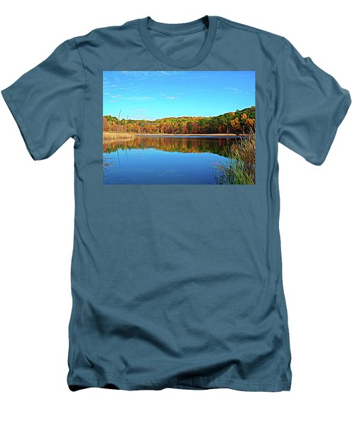 Men's T-Shirt (Athletic Fit) featuring the photograph Expressionalism Autumn Pond by Aimee L Maher Photography and Art Visit ALMGallerydotcom