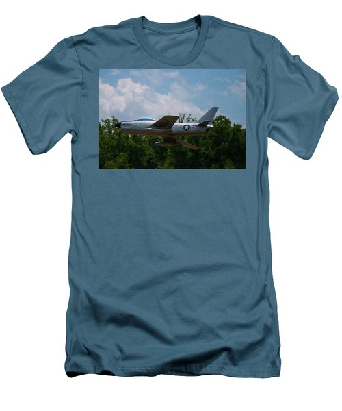 Men's T-Shirt (Slim Fit) featuring the digital art F-86l Sabre by Chris Flees