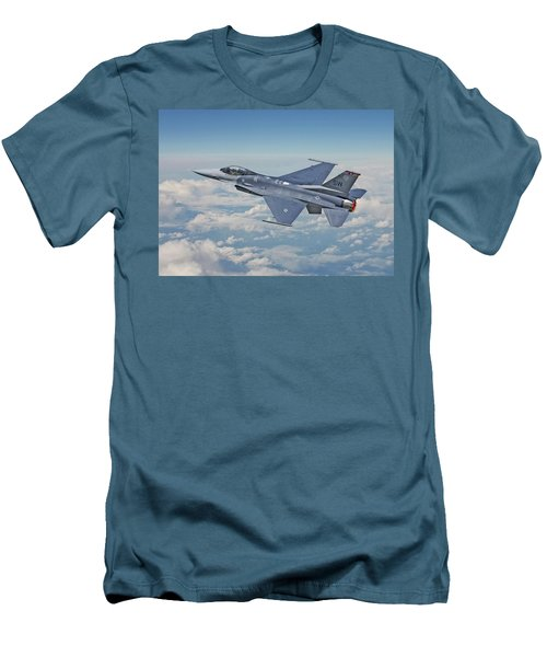 Men's T-Shirt (Slim Fit) featuring the digital art F16 - Fighting Falcon by Pat Speirs
