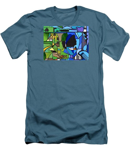 Fading Into Blues Men's T-Shirt (Athletic Fit)