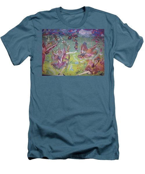 Men's T-Shirt (Slim Fit) featuring the painting Fairy Ballet by Judith Desrosiers