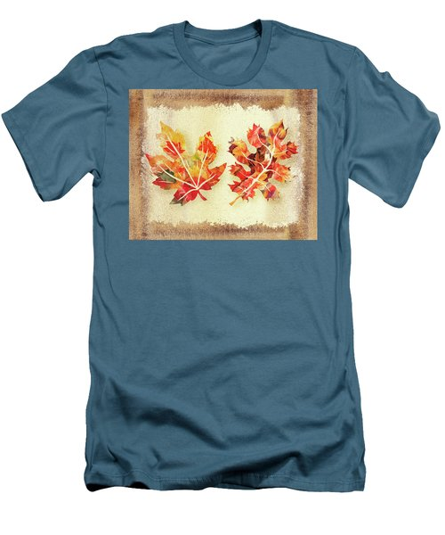 Men's T-Shirt (Athletic Fit) featuring the painting Fall Leaves Collection by Irina Sztukowski