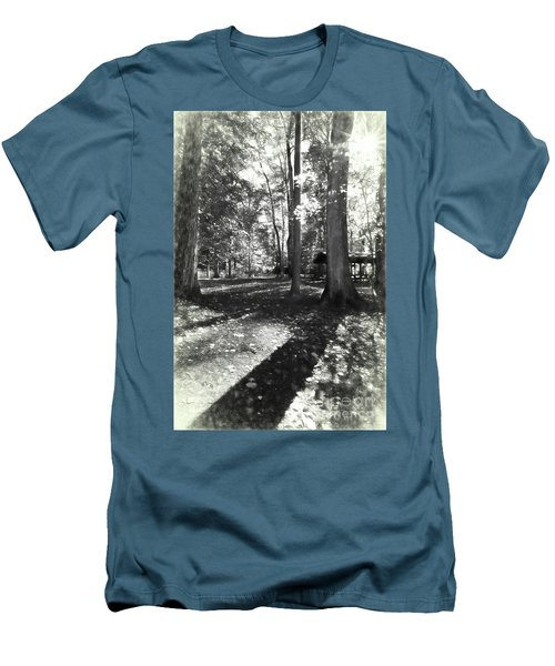 Fall Picnic Bw Painted Men's T-Shirt (Slim Fit) by Judy Wolinsky